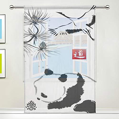 Just Contempo Rideau de fenêtre en Tulle pour Chambre à Coucher, Salon, décoration intérieure, Motif Oiseau et Panda Noir/Blanc 137 x 178 cm, Image 116, 55x84x1(in)