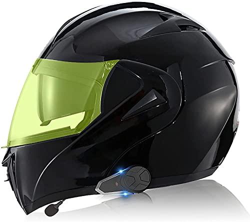 TKTTBD Casco De Motocicleta Integrado con Bluetooth, Intercomunicador FM MP3 Incorporado Sistema De Comunicación para 2-3 Personas Casco Modular Casco De Ciclomotor Certificado ECE/Dot K,M-57-58CM