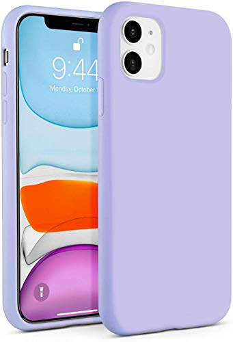 IceSword iPhone 11 Case Purple, Thin Liquid Silicone Case, Soft Silk Microfiber Cloth, Matte Pure Lavender Purple, Gel Rubber Full Body, Cool Protective Shockproof Cover 6.1' - Purple