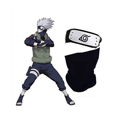 World Collection bandana mas mascara kakashi,cosplay naruto shippuden,set de dos piezas para disfraz ninja kakashi,cosplay para todas las edades genial para eventos anime,bandana naruto