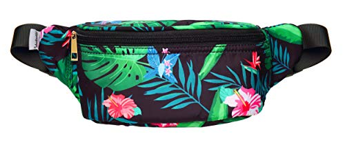 WODODO Tropical Jungle Pattern Print Fashion Cute Fanny Pack Women Rave Festival Party Hiking Travel Hip Packs