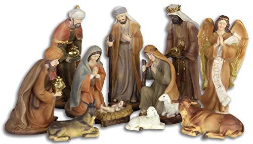 Aubaho Set de 11 Piezas Figura de Pesebre Navidad belén Estilo Antigu