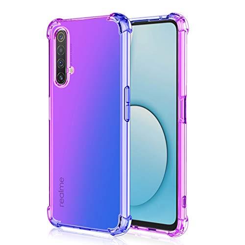 HAOYE Hülle für Oppo Find X2 Pro Hülle, Farbverlauf-TPU Handyhülle, [Vier Ecken Verstärken] Weiche Transparent Silikon Soft TPU Hülle Schock-Absorption Durchsichtig Schutzhülle (Lila/Blau)