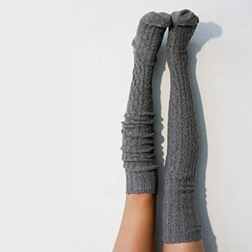 DGJEL Mujeres Invierno Algodón Crochet Grueso Cable Tejido Sobre La Rodilla Bota Larga Lana Cálido Muslo Medias Altas Pantimedias Calentadores De Piernas Negro Gris, Gris Oscuro