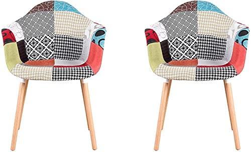 Sedie - Sedia da pranzo per il tempo libero, poltrone patchwork tessuto sedia da pranzo per cucina sala da pranzo casa ufficio sedia comoda sedia