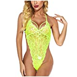 WUAI Lingerie for Women for Sex,Snap Crotch Lingerie Lace Teddy One Piece Babydoll Sexy Mini Bodysuit Sleepwear(Green,Medium)