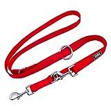 DDOXX Hundeleine Nylon, 3fach verstellbar, 2m | für kleine & große Hunde | Doppel-Leine Zwei Hund Katze Welpe | Schlepp-Leine groß | Führ-Leine klein | Lauf-Leine Welpen-Leine | XS, Rot