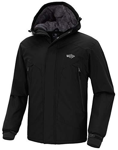 Wantdo Herren Kapuzenjacke Skijacke Reflektierende Jacke mit Fleecefutter Schwarz X-Large