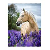 QH 50x80 Inch White Horse Pattern Super Soft Throw Blanket for Bed Couch Sofa Lightweight Travelling Camping Throw Size for Kids Adults All Season