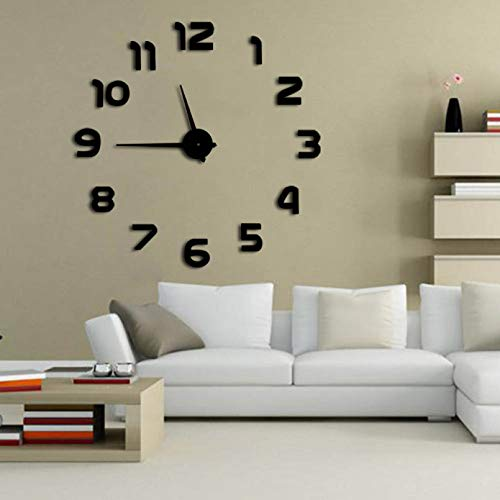 N / A DIY wall clock Simple Analog Surface Large Arabia Numerals Clock Wall Sticker 3D Mirror DIY Wall Clock Watches Home black