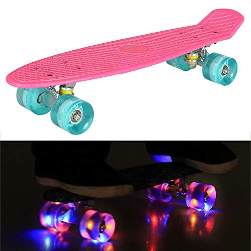 55cm/22 Mini Cruiser Board Retro Skateboard Komplettboard mit Leuchtrollen für Jugendliche Kinder und Erwachsene (Rosa Deck - Blau Rollen)