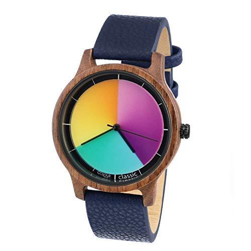 Rainbow Watch - Cool Wood Walnuss Classic Blue Leather Unisex Armbanduhr Quarz, Colorchanging Echtlederarmband dunkel blau