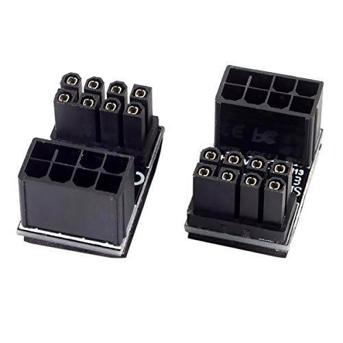 Cablecc ATX Netzadapter, 8-polige Buchse auf 8-poligen Stecker, 180 Grad abgewinkelter Netzadapter für Desktop-Grafikkarte