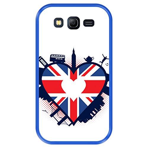 Hapdey Custodia per [ Samsung Galaxy Grand Lite - Grand Neo - Neo Plus ] Disegni [ Inghilterra, Bandiera a Forma di Cuore del Regno Unito ] Cover Guscio in Silicone Flessibile Blu TPU