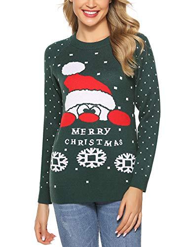 Aibrou Jersey Suéter de Navidad Mujer,Jerséis de Punto Ciervo y muñeco de Nieve Cuello Redondo Suelto Linda y Moda Regalo Ideal para Mujeres