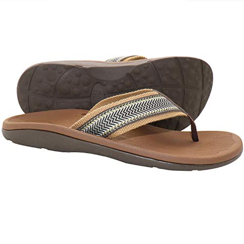IRSOE Plantar Fasciitis Men's Sandals Arch Support Orthotic Thong Flip Flops for Flat Feet/Heel Pain, Slippers Sandal for Beach/Casual/Indoor