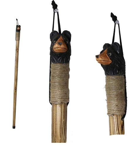"Rustic Axentz Kids Children Wood Walking Trekking Hiking Pole Stick with Twine Grip, Rubber Tip, Wrist Strap, 38"", Carved Bear"