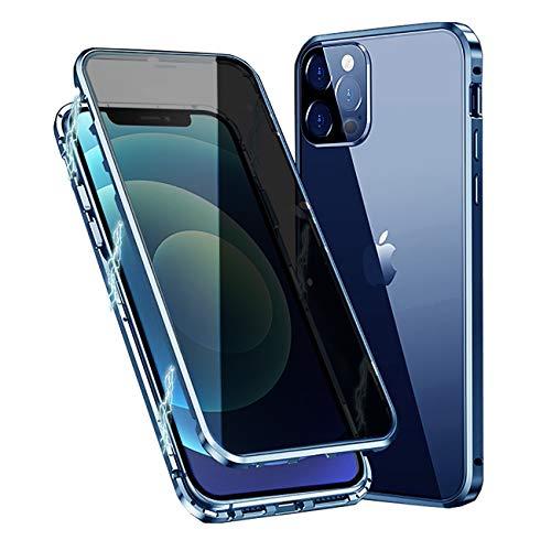 MOSSTAR Funda para iPhone 12 Pro MAX, Carcasa Anti-Espía 360 Grados Protección [Vidrio Templado de Privacidad Incorporado] Adsorción Magnética Metal Bumper Cubierta Transparente Cover,Azul