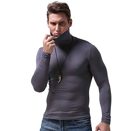 Abimy Mannen Warm Lange Mouw Compressie Shirts, Coltrui Winter Base Layer Top Pullover Lichtgewicht T-Shirt