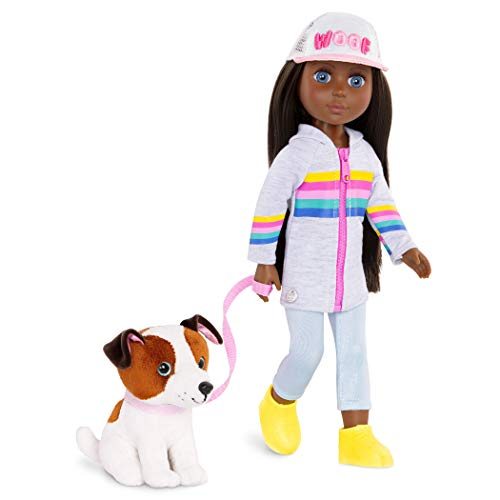 Glitter Girls Dolls by Battat – 14-inch Posable Doll with Outfit & Plush Dog Pet - Jana & Cuddles – Toys, Clothes, and Accessories for Kids Ages 3 and Up, Brown/A, Model: GG51078Z
