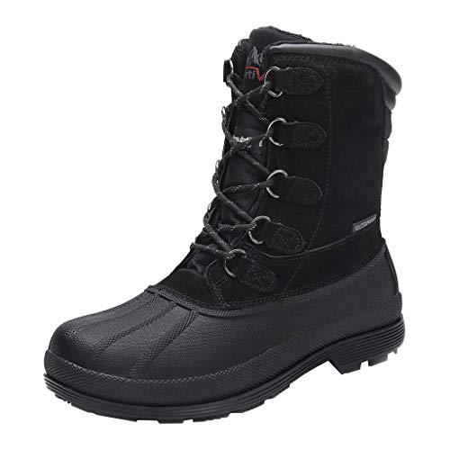 NORTIV 8 Men's 170390-M Black Insulated Waterproof Work Snow Boots Size 9.5 M US