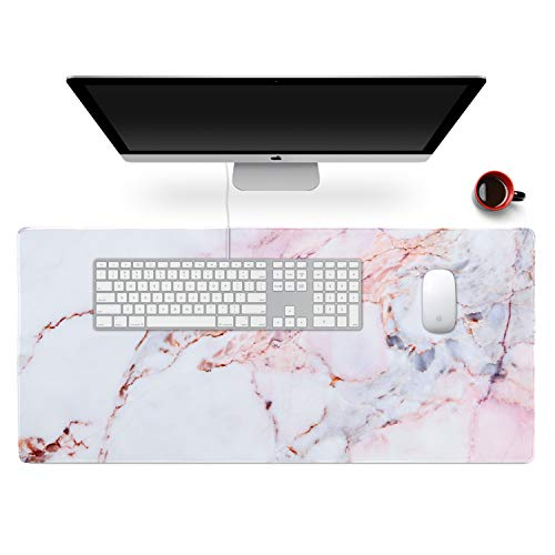 """Anyshock Desk Mat, Extended Gaming Mouse Pad 35.4"""" x 15.7"""" XXL Keyboard Laptop Mousepad with Stitched Edges Non Slip Base, Water-Resistant Computer Desk Pad for Office and Home (Colored Marble)"""