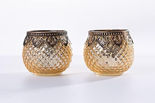 Jinfa Portacandela Originale in Vetro, con vasetto paravento in Stile Antico: Rosso, Oro, Argento
