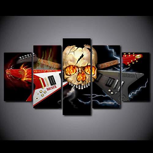 AHJJK Cuadro sobre Lienzo 5 Piezas Negro Fondo Guitarra Calavera Impresión en Lienzo para decoración de hogar Moderno decoración de la impresión Sin Marco XL(150x80cm)