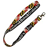 Route One Apparel   Maryland Flag, Ravens & Bohs & Crabs & O's Lanyard, Neck Strap for ID Badge, Car Keys, Wallet, Whistle, Phone, With Metal Clasp