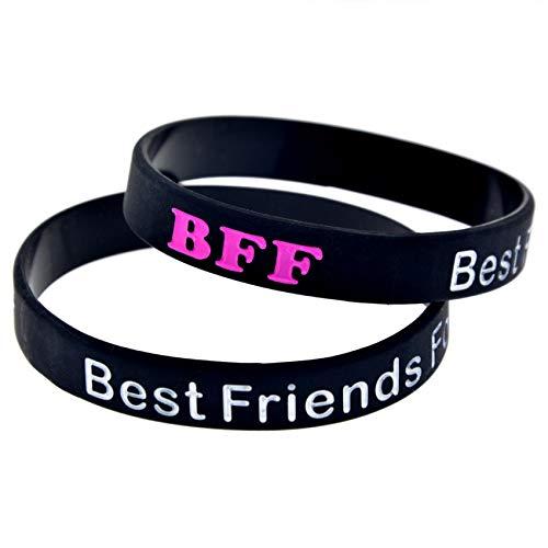 HSJ 10 Unids Best Friends Forever Silicone Pulsera BFF Buen Amigo Amigo Memorial Pulsera Inspira Perfectamente Fitness, Baloncesto, Ejercicio para Encontrar, Ejercicio Y Tareas,Negro