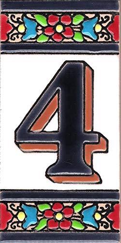 TORO DEL ORO Números casa. Numeros y Letras en azulejo Ceramica esmaltada, Pintados a Mano técnica Cuerda Seca. Nombres y direcciones. Diseño Flor Mediana 5,5x10,5 cm (Número cuatro'4')