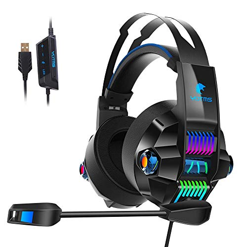 Xbox One Stereo Gaming Headset, YOTMS Headset for PS4, Xbox One, PC, Notebook, Nintendo Switch 3.5mm Interface with Noise Canceling Microphone, LED Lighting, Bass Surround - Blue