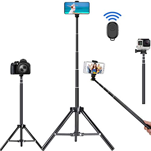 Selfie Stick Tripod, 62 inch Ultra-Long Extendable Selfie Stick Tripod Stand Aluminum Alloy with Bluetooth Remote for iPhone 12 11 Pro XS MAX X XR SE 8 7, Samsung Galaxy S20 S10 S9 S8 Plus Ultra Note