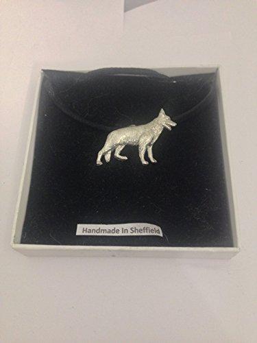 Deutscher Schäferhund PP-D09 Halskette aus englischem Zinn an schwarzer Kordel, handgefertigt, 41 cm