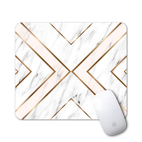 iLeadon Gaming Mouse Pad Customized Rectangle Non-Slip Rubber Mousepad with Mini Cute Funny Art Design for Mac, PC, Computers. Ideal Partner for Working Or Game, Gold Marble