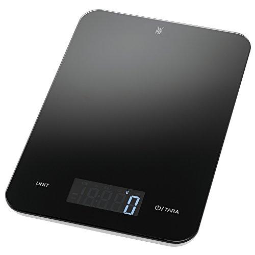 WMF Digitale Küchenwaage 23 x 15 x 2 cm, Backwaage, Haushaltswaage, Sicherheitsglas, grammgenau, Tara-Funktion, 5kg Maximalgewicht, schwarz