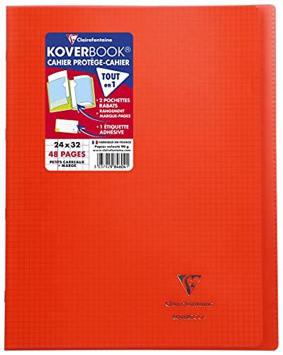 Clairefontaine 984604C Un Cahier Agrafé Koverbook Rouge - 24x32 cm - 48 Pages Petits Carreaux avec Marge - Papier Blanc 90 g - Couverture Polypro