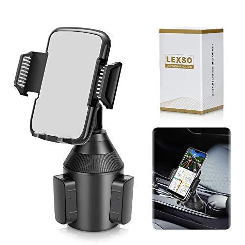 LEXSO Soporte Universal para teléfono Inteligente, Soporte Ajustable para Taza de Coche para teléfono Celular iPhone 12 MAX Pro 11/Xs/XS/Max/X/8/7 Samsung Galaxy S20/ S10/S9/S8 Note,Sony,Huawei