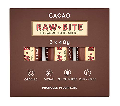 RAWBITE CACAO in der 3er Box - Vegan, glutenfrei & ohne Zuckerzusatz (enthält von Natur aus Zucker) - Bio Frucht-Nuss-Riegel mit Kakao (3 x 40 g)