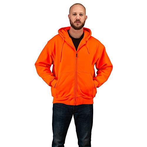 TrailCrest Men's Safety Blaze Orange / Camo Double Fleece Full Zip Hoodie, Orange, 3X