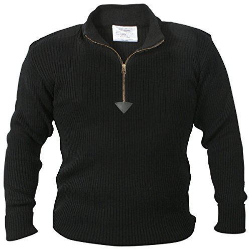 Rothco 1/4 Zip Acrylic Commando Sweater, Black, Large