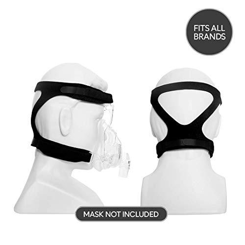 Plusmed cpap Zubehör - Universal Cpap Headgear Strap Ersatz für Resmed Cpap und verschiedene Cpap Mask. Ultralight, Soft und atmungsaktiv. (Maske nicht enthalten) (schwarz)