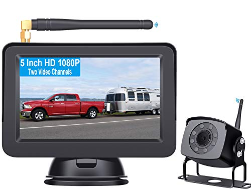 Rohent HD 1080P Digital Wireless Backup Camera with 5'' Monitor High-Speed Observation System for Trucks,RVs,Motorhomes,Trailers Guide Lines DIY R5