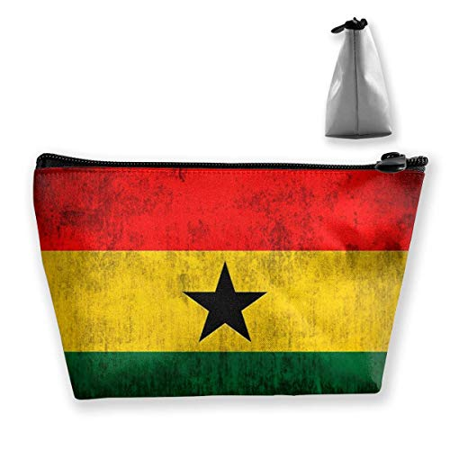 Trapezoid Makeup Pouch Storage Holder Retro Style Ghana Sacred Flag Womens Travel Case Cosmetic Makeup Pouch