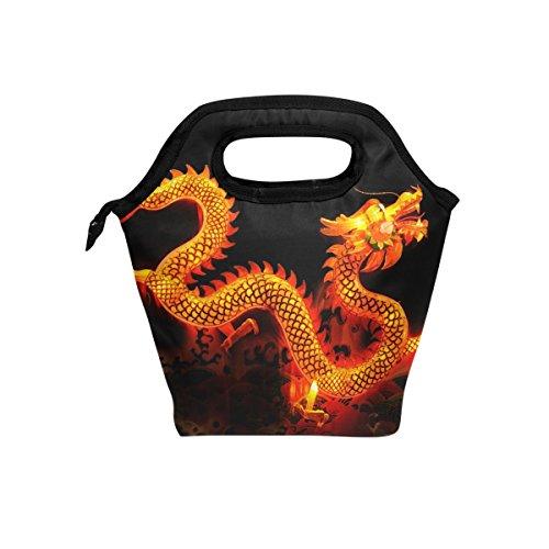 coosun Chinesischer Drache Laterne Lunch Tasche Isolierte Thermo Kühler Lunch Bag Wasserdichte Neopren Lunch Handtaschen Tote mit Reißverschluss für Outdoor-Reise Picknick