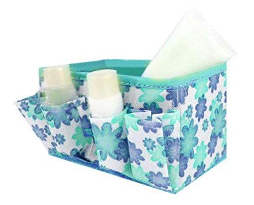 MuSheng(TM) Non - tissé de petites fleurs cosmétiques boîte de rangement pliable (Bleu)