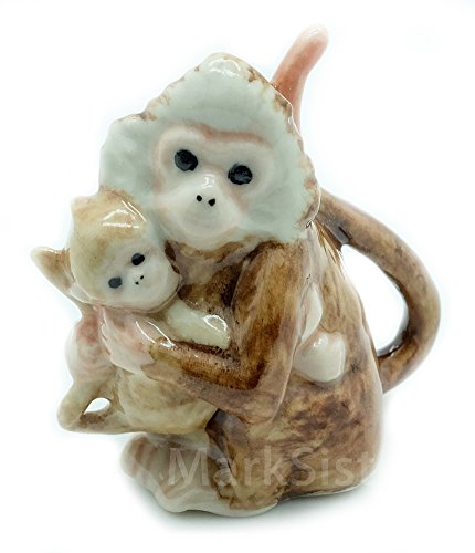 Grandroomchic Animal Miniature Handmade Porcelain Statue Mother and Baby Monkey Hugging Figurine Collectibles Gift