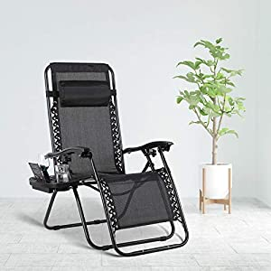 MVPower Zero Gravity Chair with Cup Holder - Black