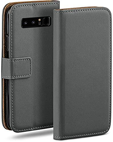 moex Klapphülle für Samsung Galaxy Note8 Hülle klappbar, Handyhülle mit Kartenfach, 360 Grad Schutzhülle zum klappen, Flip Hülle Book Cover, Vegan Leder Handytasche, Dunkelgrau