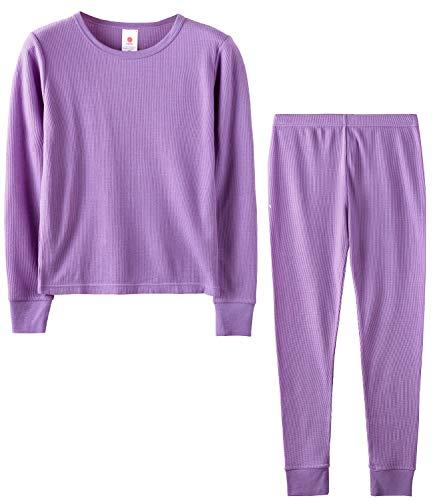 LAPASA Girls Thermal Underwear Long John Set Winter Base Layer Top and Bottom G03 (M(Height 125-135cm), Purple (Waffle Knit))